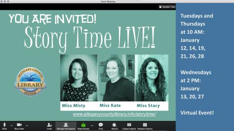 Story Time Live Image : photos of Misty, Kate, and Stacy and list of dates and times